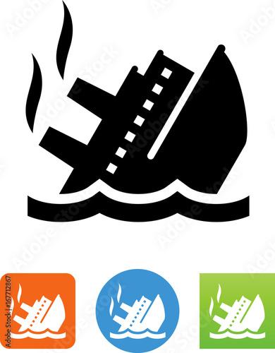 Sinking Ship Icon - Illustration Canvas Print