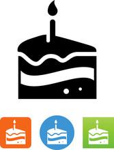 Slice Of Birthday Cake Icon - Illustration