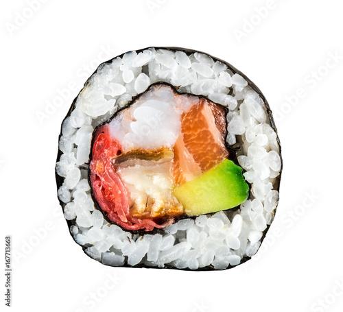 Fotografía Sushi roll with salmon, shrimps and avocado