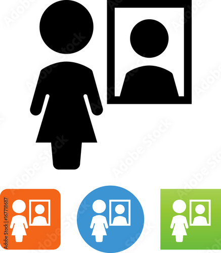 Photo  Woman In Mirror Icon - Illustration