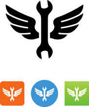 Wrench With Wings Icon - Illus...