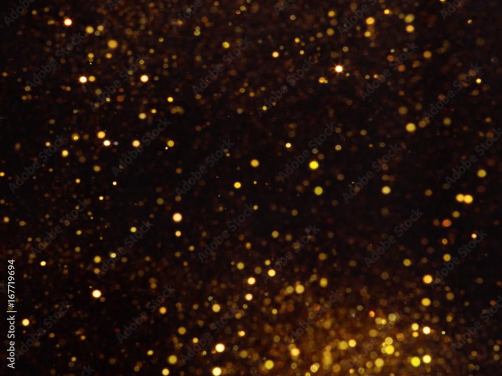 Fototapety, obrazy: Golden overlay background of golden lights with bokeh effect.