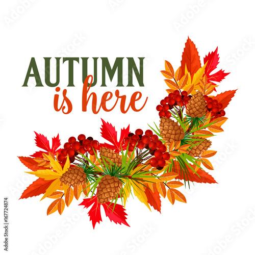 Fotografie, Obraz  Autumn time leaf wreath vector greeting poster
