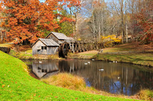 Mabry Mill With Pond, One Of The Attractions On Blue Ridge Parkway, Virginia USA In Autumn.