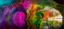 Cave With Color Highlights. Flooded Mine. Failure In Ruskeala. Karelia. Russia.