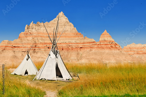Wigwams at a scenic view in Badlands National Park, South Dakota, USA Canvas Print