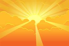 Orange Sky With Sunrays Vector...