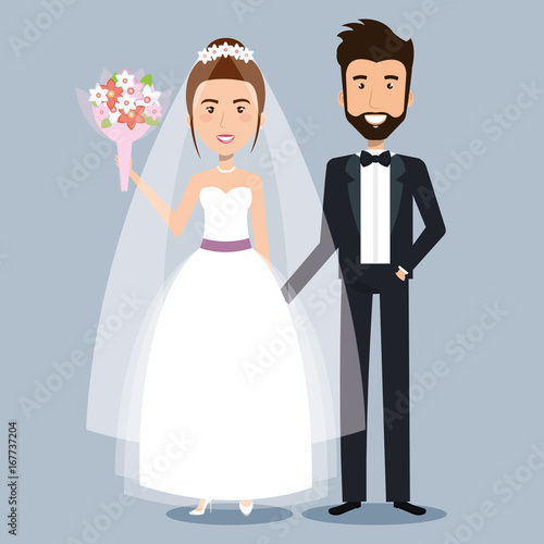 Fotografía beautiful young bride and groom couple holding hands on wedding day vector illus