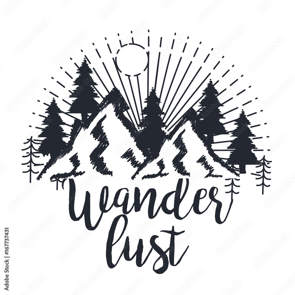 Fototapety, obrazy: wanderlust hand drawn mountain adventure label nature vector illustration