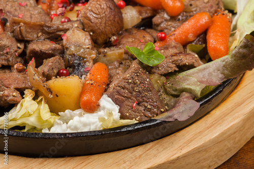 Meat stew with vegetables.