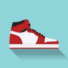 Sneaker. Trainer. Flat Design....