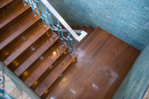 Foto op Plexiglas Trappen The modern wooden staircase in house