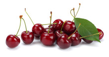 Cherries With Green Leaf Isola...