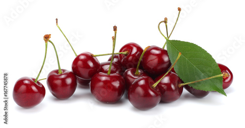 Montage in der Fensternische Kirschblüte cherries with green leaf isolated on white background.