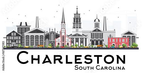 Charleston South Carolina Skyline with Gray Buildings Isolated on White Background Fototapet