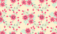 Seamless Folk Pattern In Small Wild Flowers. Country Style Millefleurs. Floral Meadow Background For Textile, Wallpaper, Pattern Fills, Covers, Surface, Print, Gift Wrap, Scrapbooking, Decoupage.