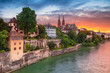 canvas print picture Basel. Cityscape image of Basel, Switzerland during dramatic sunset.
