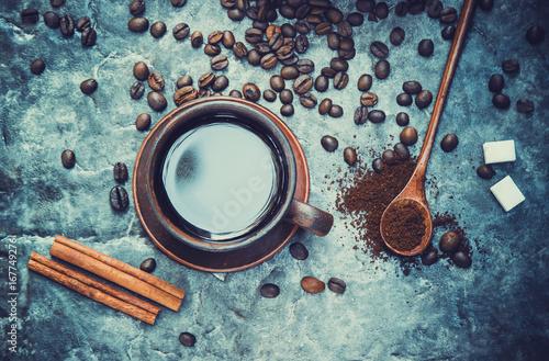 Café en grains Coffee. Selective focus.