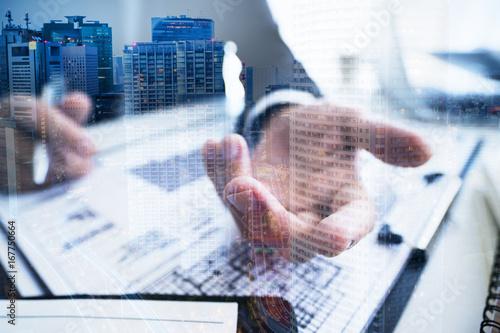 Fotografia, Obraz  Businessman's hand and building
