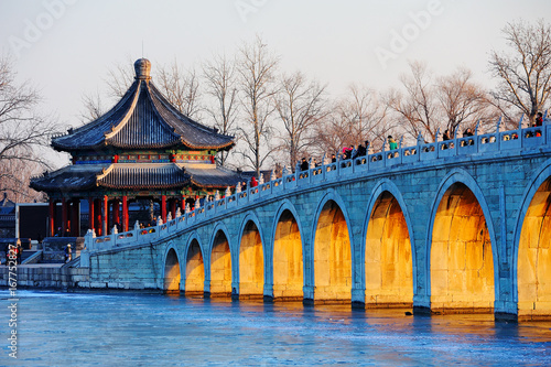 The summer palace and seventeen arch bridge scenery in Beijing,China Wallpaper Mural