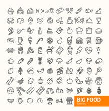 Big Food Black Thin Line Icon Set. Vector