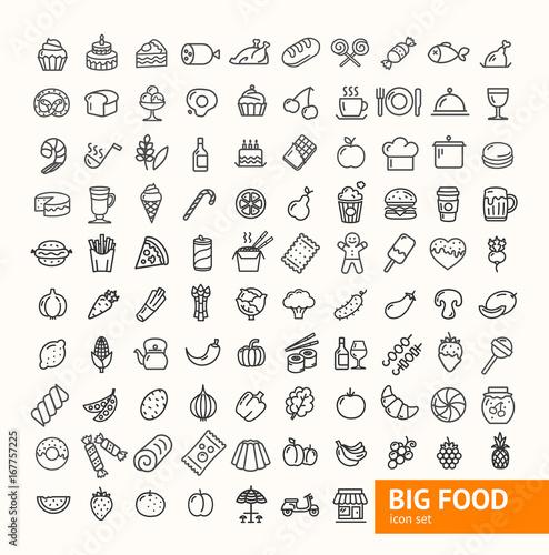 Fotografía  Big Food Black Thin Line Icon Set. Vector