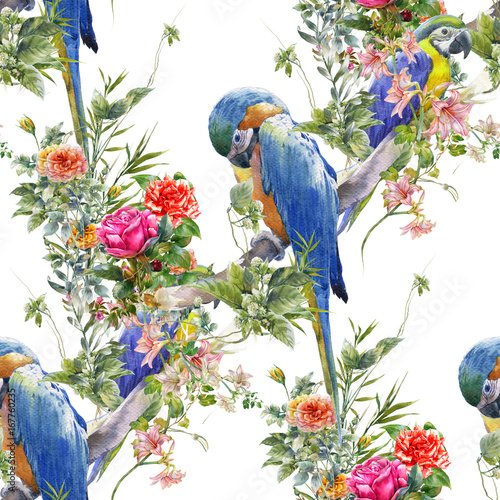 akwarela-obraz-z-ptakami-i-kwiatami-bezszwowy-wzor-na-bialym-tle