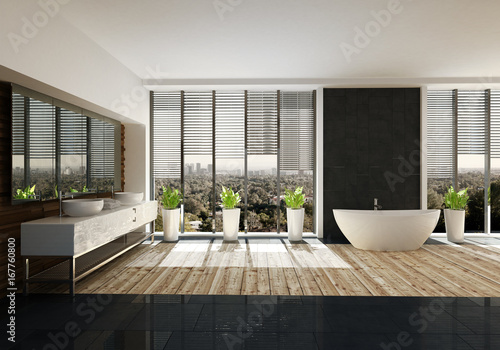 Moderne Freistehende Badewanne In Designer Badezimmer Mit Holzboden