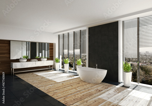 Moderne Freistehende Badewanne In Luxus Badezimmer Mit Holzboden Buy This Stock Illustration And Explore Similar Illustrations At Adobe Stock Adobe Stock