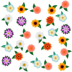 floral pattern in with flowers and leaves.