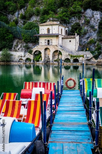 Scanno Lake, Scanno, Abruzzo, Central Italy, Europe Wallpaper Mural