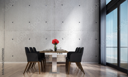 Fotografía  New 3d rendering of dining room interior design and brick wall background