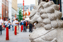 A Guardian Lion Statue Located...