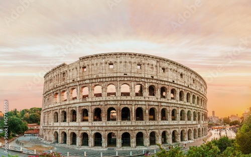 Staande foto Rome Colosseum panorama at sunset time with marvelous sky.
