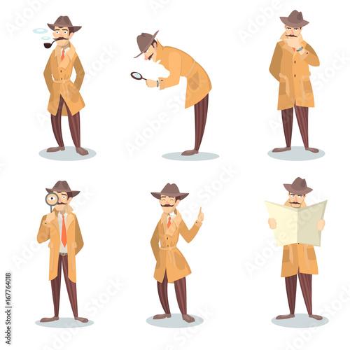 Obraz na plátně Isolated detective set.