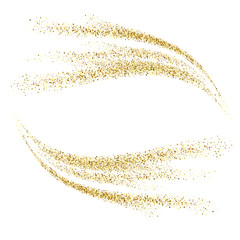 Vector gold glitter waves abstract background. Sequins wave on a white background.
