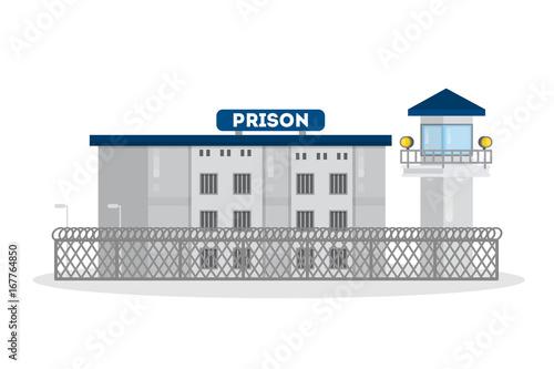 Obraz na płótnie Prison city building.