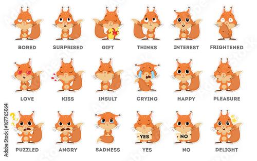 Fotografía  Squirrel emoji set.