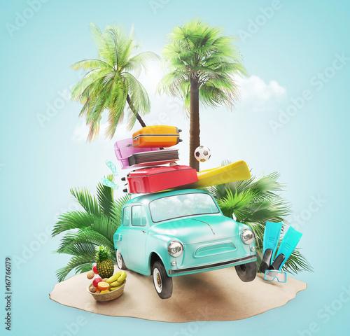 Fotografering  Auto carica di valigie per le vacanze al mare