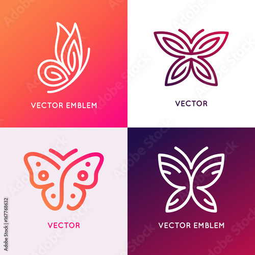 Obraz na plátně  Vector set of abstract logo design templates and emblems - butterfly