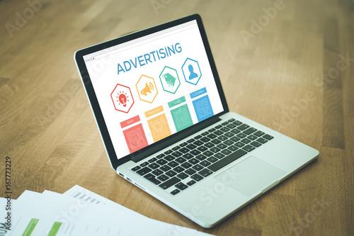 Fototapeta Advertising Ideas Marketing Sales Customer Word With Icons obraz na płótnie
