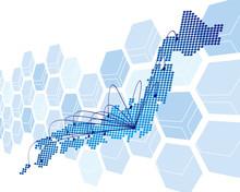 Japan Map Network Vector