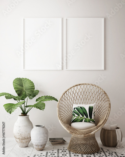 Fotografija  mock up poster frame in tropical interior background, modern Caribbean style, 3D