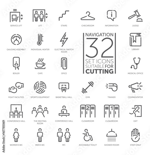 Valokuvatapetti Navigation signs vector icon set