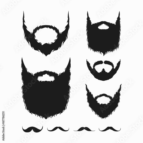 set of beard and mustache silhouette vector Fotobehang