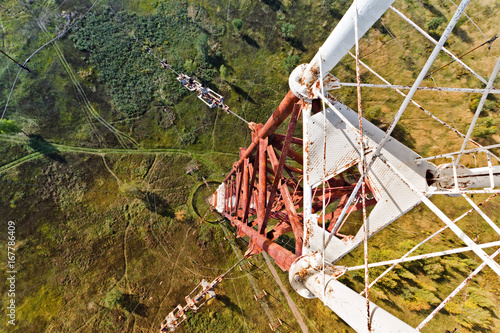 Look down from the radio tower. Radio tower Construction