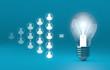 bulb lights, teamwork brainstorming creative idea concept