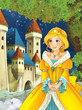 Cartoon scene with a young princess looking at castle in the background - stage for different fairy tales - illustration for children