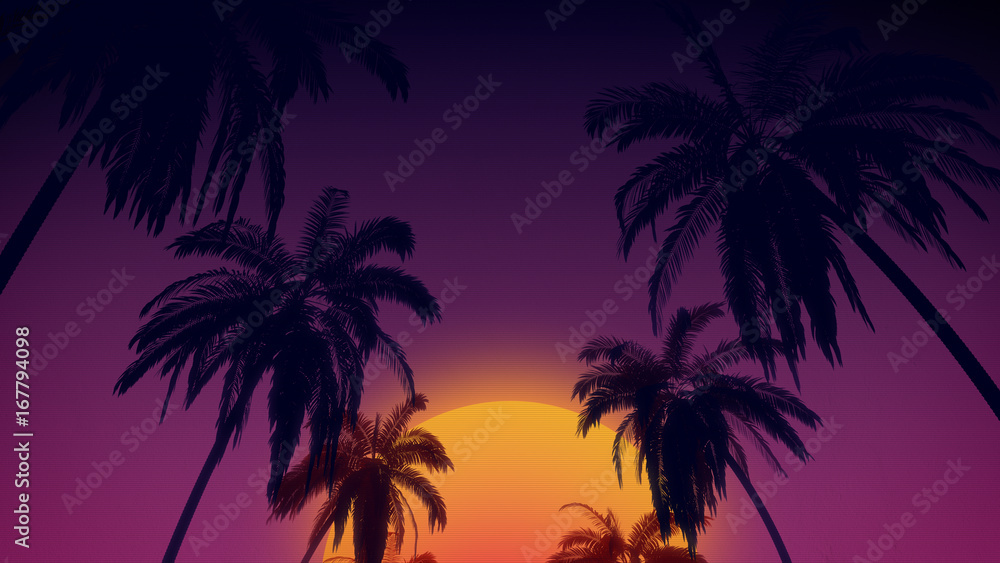 Fototapeta 80's retro style background with tropical coconut trees and sunset from 3d render.