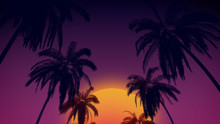 80's Retro Style Background With Tropical Coconut Trees And Sunset From 3d Render.